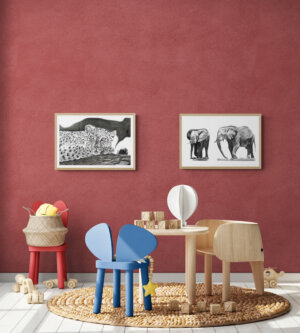 Kids playroom with wooden toys and furniture